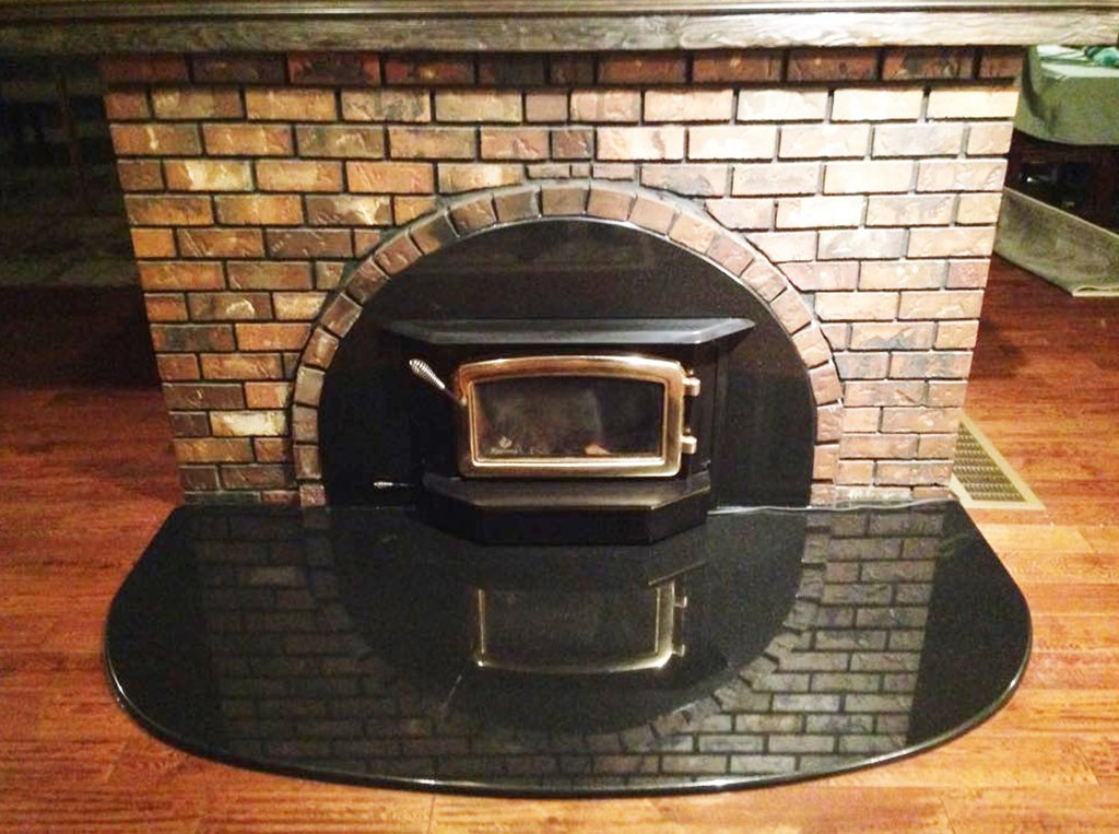 Absolute Black Granite Fireplace Shroud & Hearth - Duncan BC
