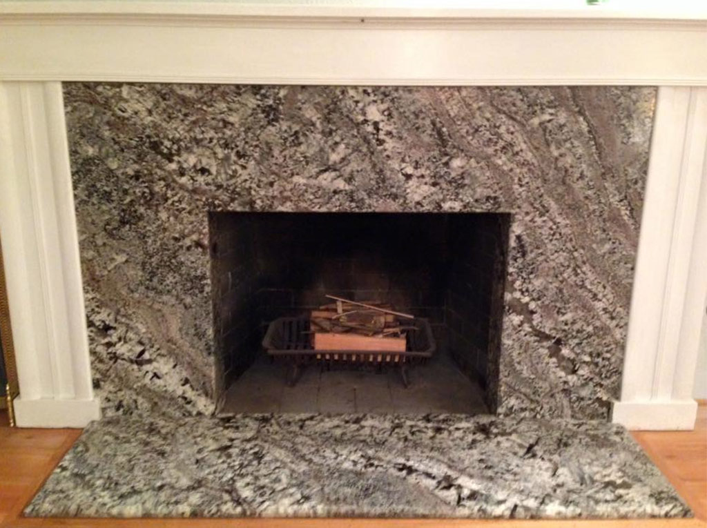 Before & After New Azul Aran Granite Fireplace