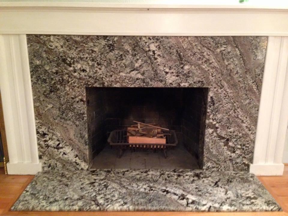 After Azul Aran Granite Fireplace