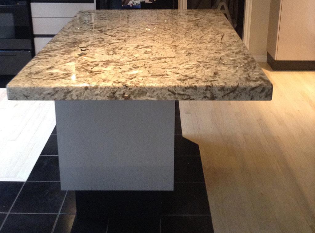 Crema Typhoon Granite Kitchen Island & Cambrian Black (satin finish) Granite Side Counter - Duncan BC